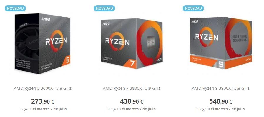 Precio AMD Ryzen 9 3900XT AMD Ryzen 7 3800XT y AMD Ryzen 5 3600XT 0
