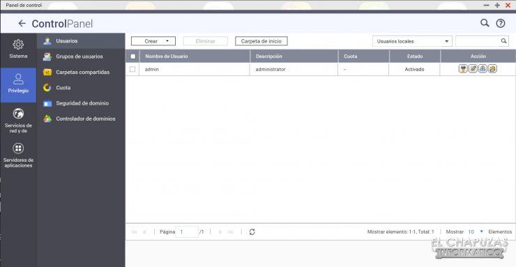 QNAP TS-253D - Software - Panel de control 2
