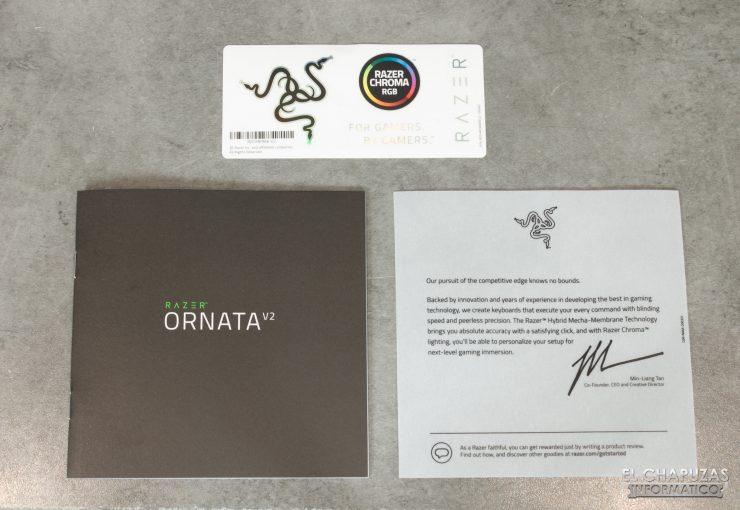 Razer Ornata V2 - Documentación y pegatinas