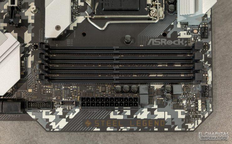 ASRock H470 Steel Legend - Vista frontal - Slots DDR4