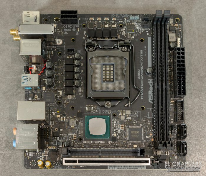 ASRock Z490 Phantom Gaming-ITX/TB3 - Vista superior sin carenado