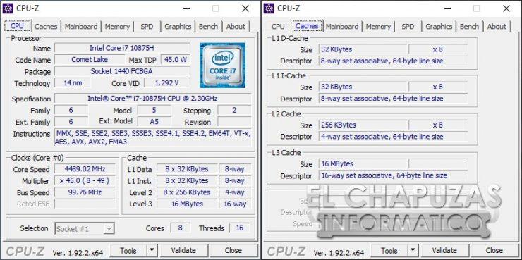 Asus ROG Zephyrus S GX701L - CPU-Z