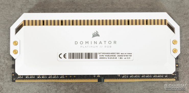 Corsair Dominator Platinum RGB White - Vista trasera