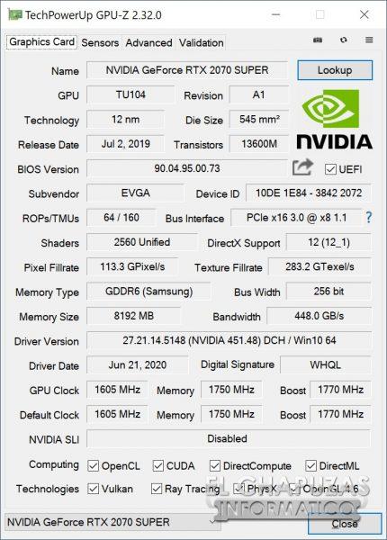 EVGA GeForce RTX 2070 SUPER KO - GPU-Z