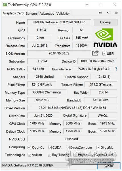 EVGA GeForce RTX 2070 SUPER KO - GPU-Z OC