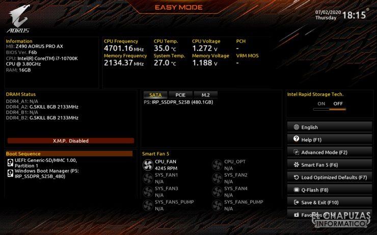 Gigabyte Z490 Aorus Pro AX - BIOS 1