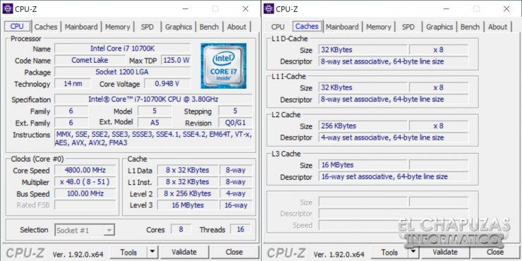 Intel Core i7-10700K - CPU-Z