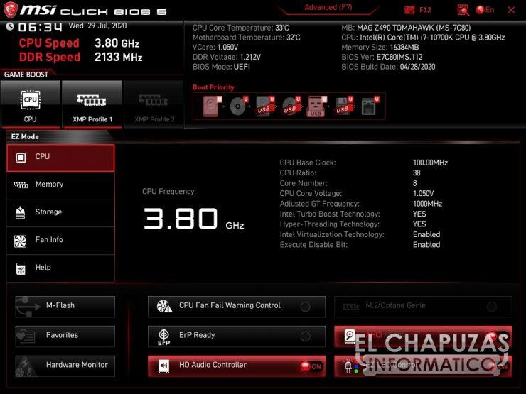 MSI MAG Z490 Tomahawk - BIOS 1