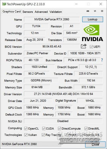 Zotac GeForce RTX 2060 - GPU-Z OC