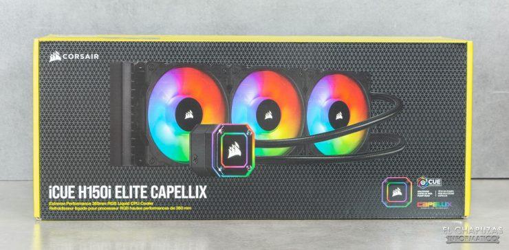 Corsair iCUE H150i Elite Capellix - Embalaje frontal