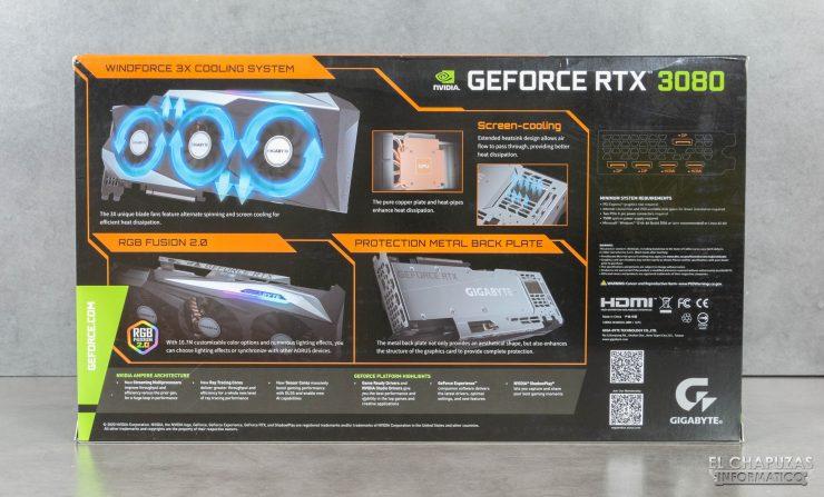 Gigabyte GeForce RTX 3080 Gaming OC 10G - Embalaje trasero