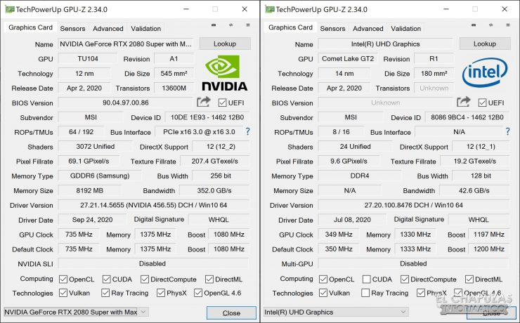 MSI Creator 17 A10SGS - GPU-Z
