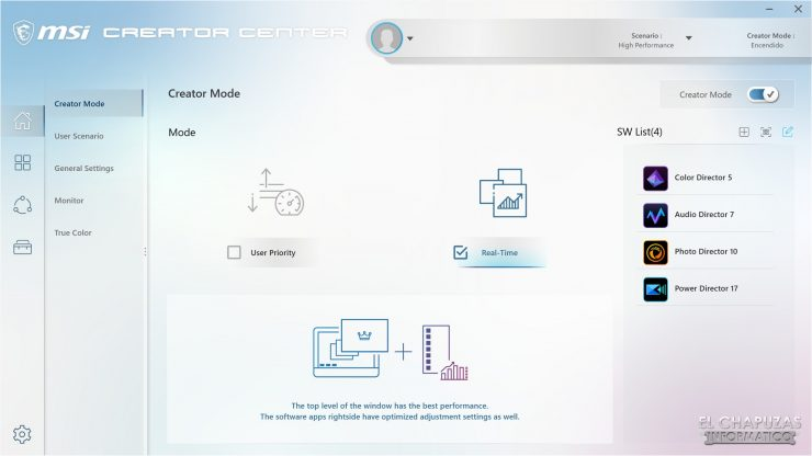 MSI Creator 17 A10SGS - Creator Center 1