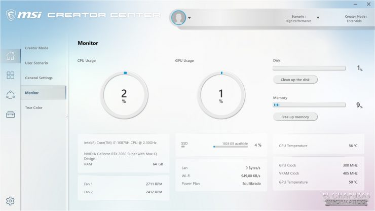 MSI Creator 17 A10SGS - Creator Center 4