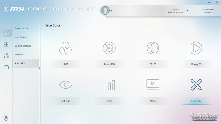 MSI Creator 17 A10SGS - Creator Center 5