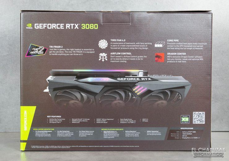 Parte trasera de la caja de la GPU MSI GeForce RTX 3080 Gaming X Trio 10G
