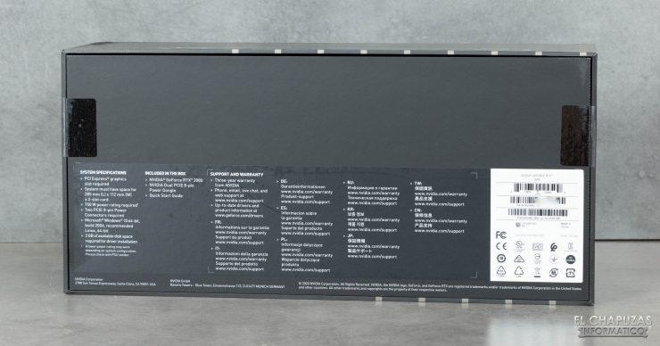 Nvidia GeForce RTX 3080 Founders Edition - Embalaje trasero