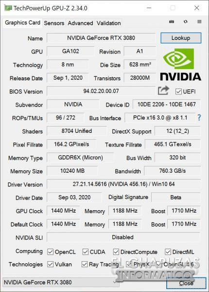 Nvidia GeForce RTX 3080 Founders Edition - GPU-Z