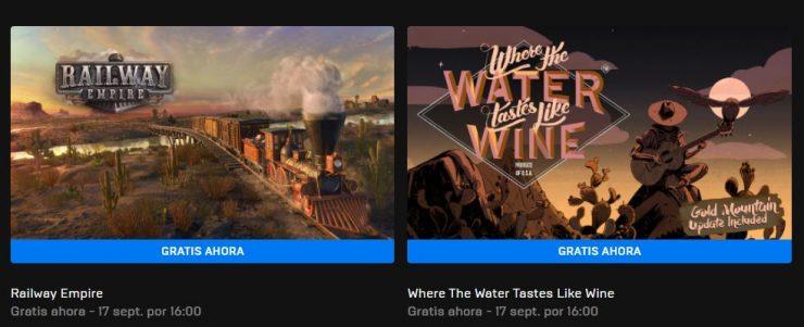 Juegos gratis: Railway Empire y Where The Water Tastes Like Wine