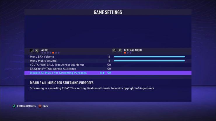 FIFA 21 actualización de música para streamers