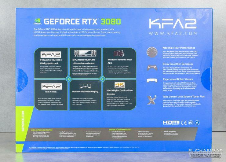 KFA2 GeForce RTX 3080 SG - Embalaje trasero