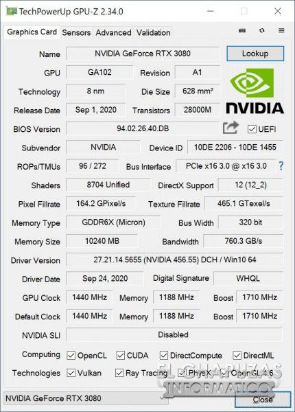 KFA2 GeForce RTX 3080 SG - CPU-Z