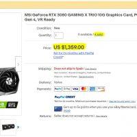 [Actualizada] Cazan a MSI revendiendo sus GeForce RTX 3080 a precios desproporcionados en eBay