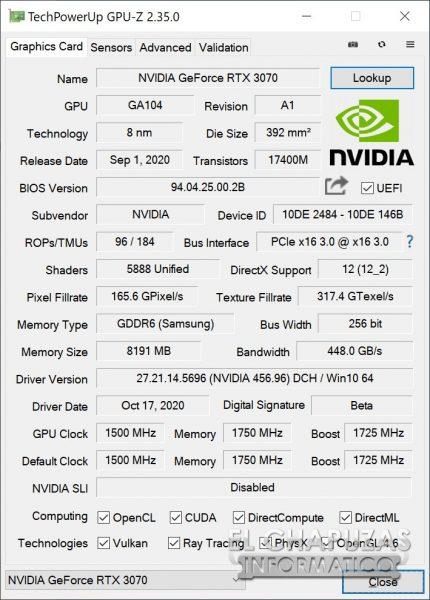Nvidia GeForce RTX 3070 Founders Edition en GPU-Z