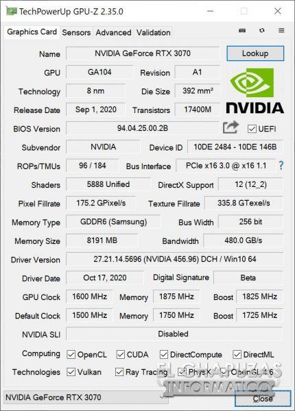 Nvidia GeForce RTX 3070 Founders Edition OC en GPU-Z