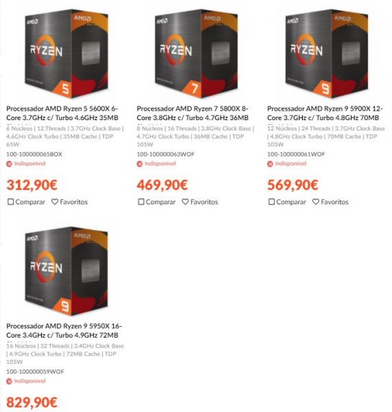 Precios de los AMD Ryzen 5000