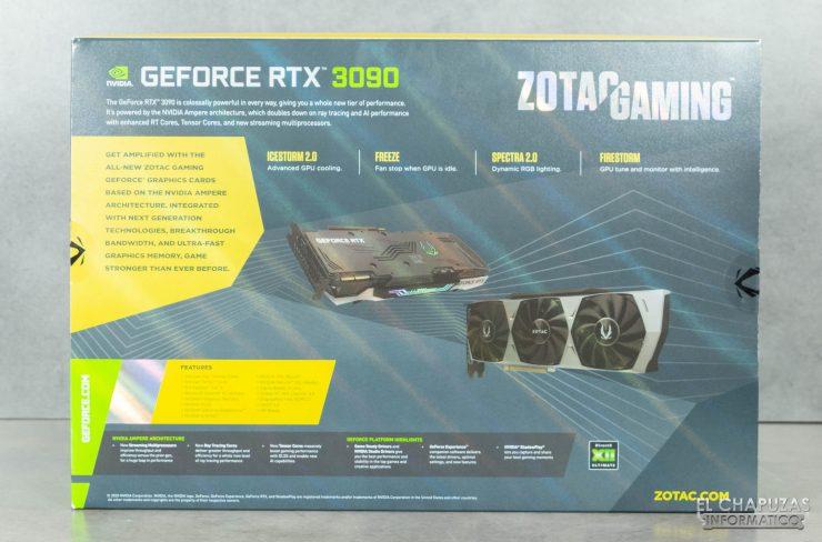Zotac Gaming GeForce RTX 3090 Trinity - Embalaje trasero