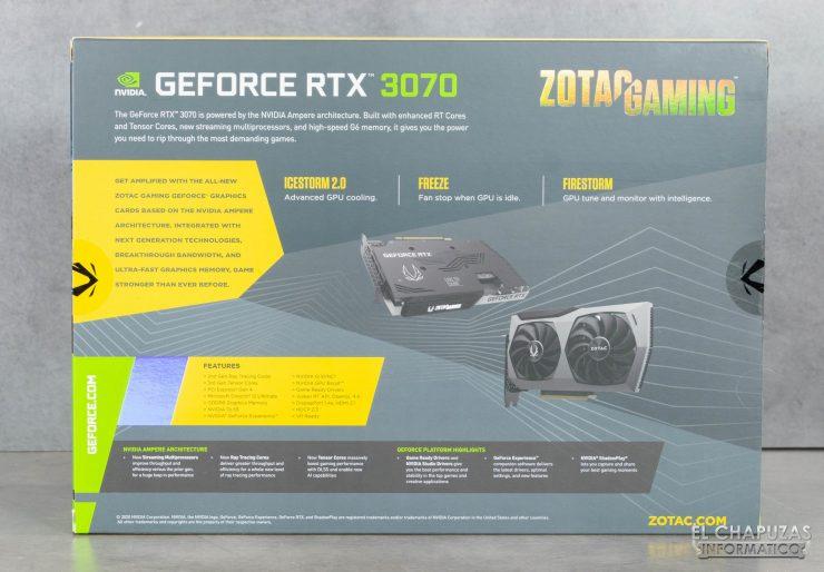 Zotac GeForce RTX 3070 Twin Edge - Embalaje trasero
