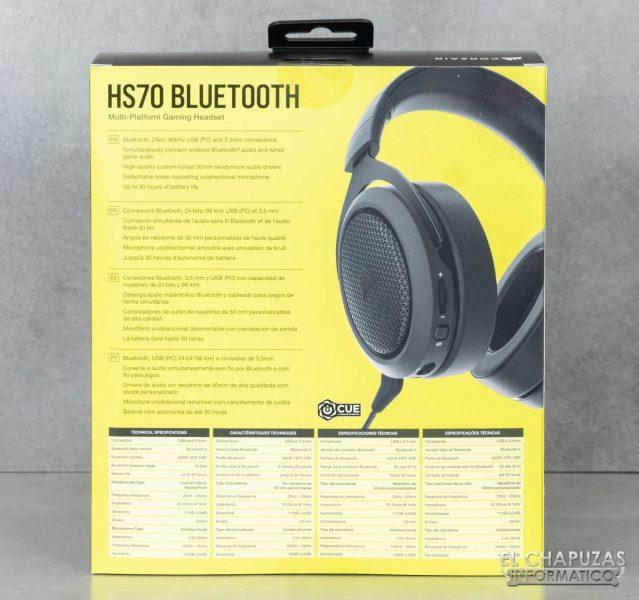 Corsair HS70 Bluetooth - Embalaje trasero