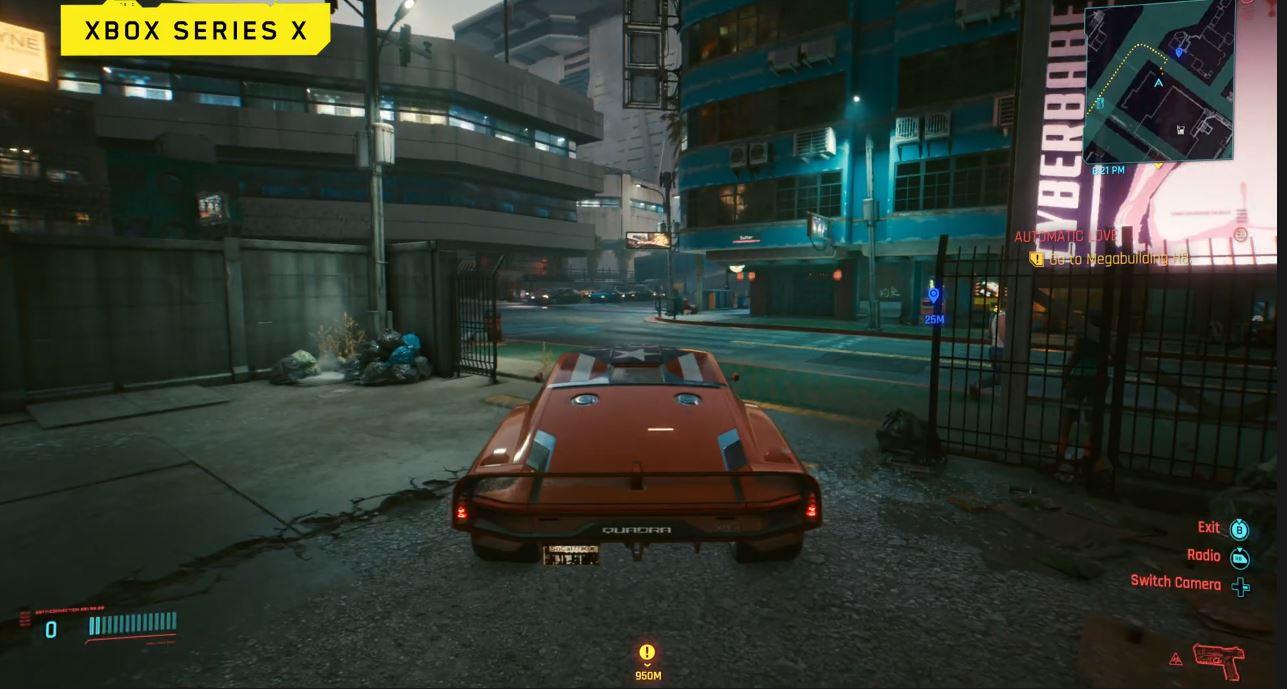 Cyberpunk 2077 se deja ver tanto en la Xbox Series X como en la Xbox One X
