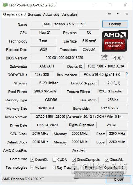 AMD Radeon RX 6900 XT - GPU-Z