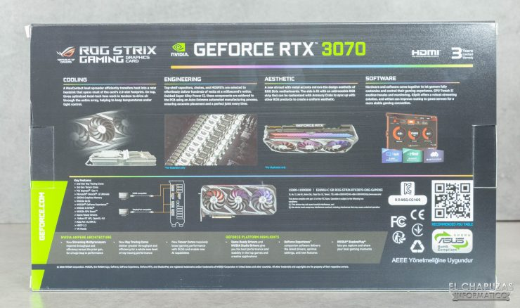Asus ROG Strix GeForce RTX 3070 OC - Embalaje trasero