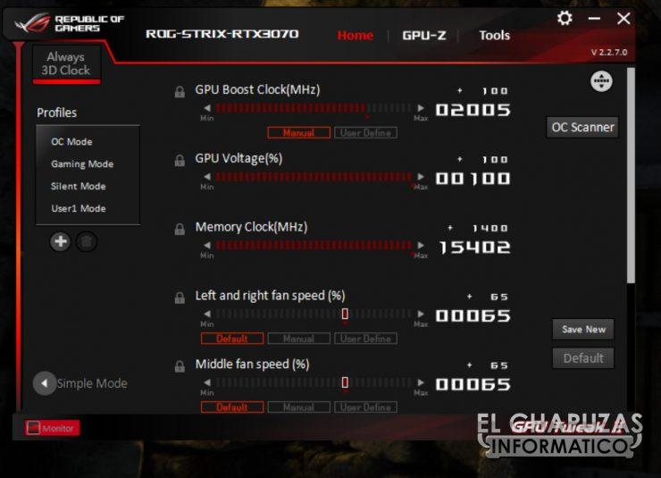 Asus ROG Strix GeForce RTX 3070 OC - GPU Tweak