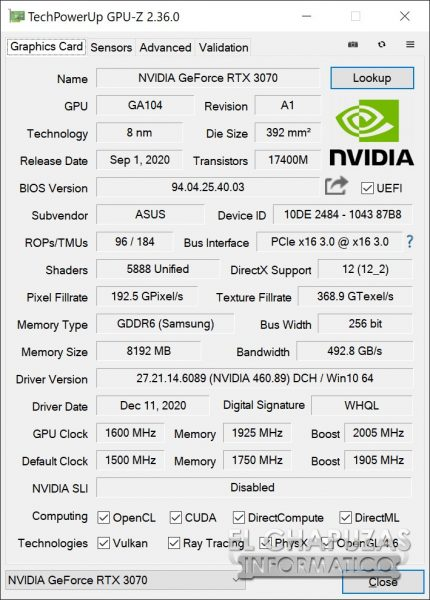 Asus ROG Strix GeForce RTX 3070 OC - GPU-Z OC