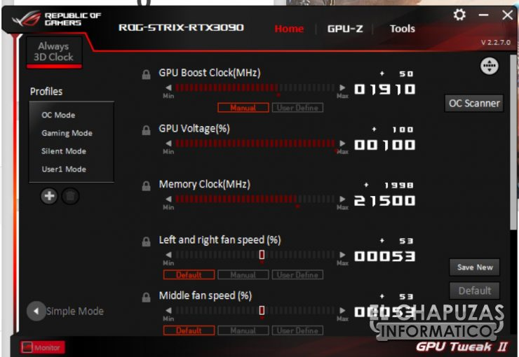 Asus ROG Strix GeForce RTX 3090 OC - GPU Tweak