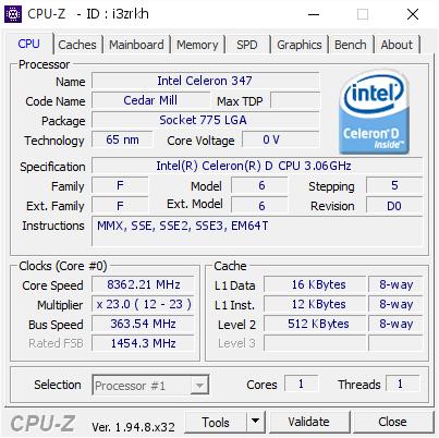 Intel Celeron D 347 CPU-Z