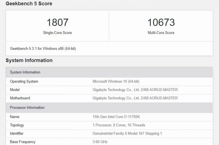 Intel Core i7-11700K en Geekbench
