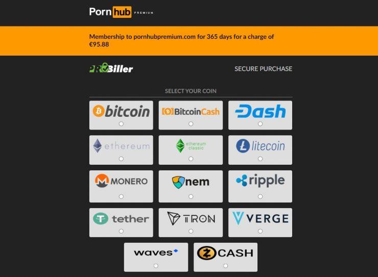 PornHub con pago por criptomonedas