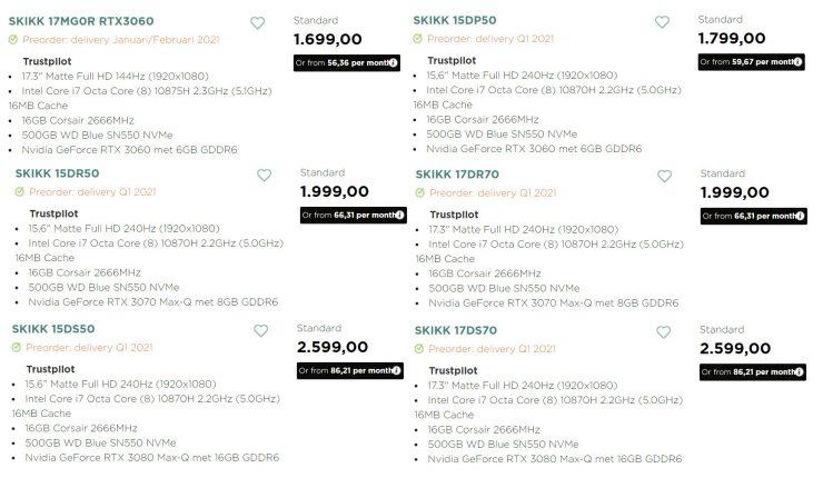Portatiles SKIKK con GeForce RTX 30 Series