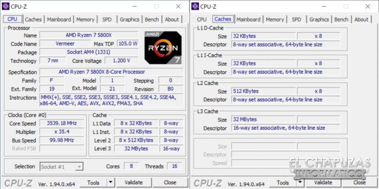 AMD Ryzen 7 5800X - CPU-Z