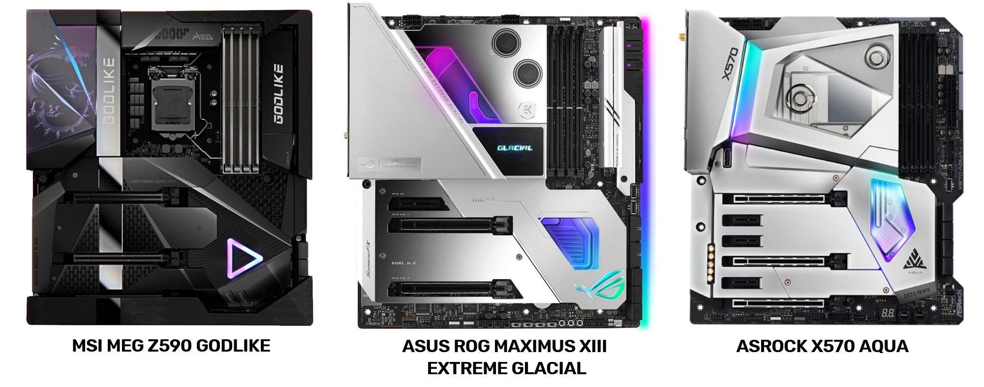 ASRock X570 AQUA vs Asus ROG Maximus XIII Extreme Glacial vs MSI MEG Z590 GOLDLIKE 0