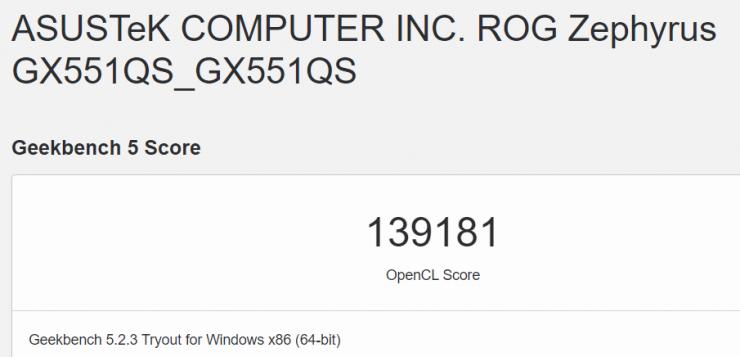 Nvidia GeForce RTX 3080 Max-Q en Geekbench