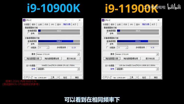 Core i9-10900K vs Core i9-11900K en CPU-Z