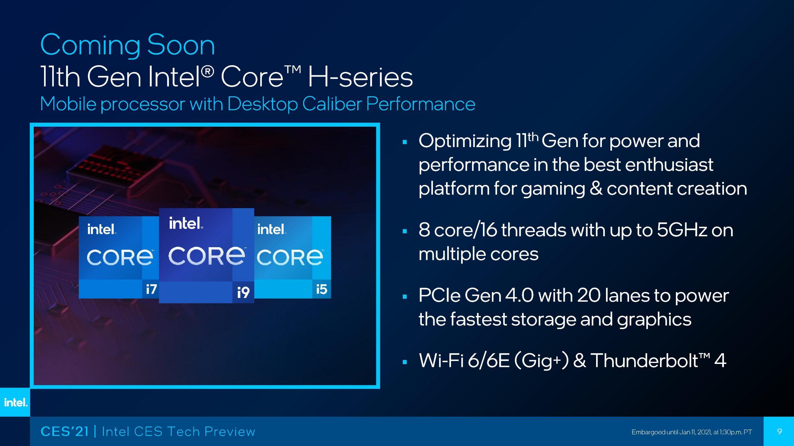 Se confirman las especificaciones del Intel Core i9-11900H; Core i7-11800H y Core i5-11400H