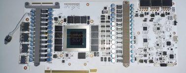 La KFA2 GeForce RTX 3090 Hall of Fame (HOF) aparece mostrando su VRM de 26 fases de alimentación