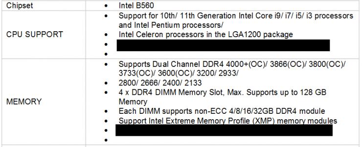 Soporte memoria Intel B560